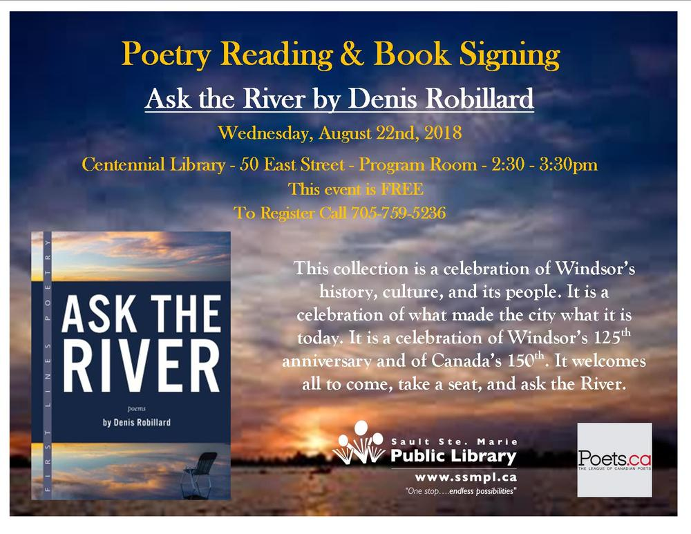 Poetry Reading & Signing with Denis Robillard Poster